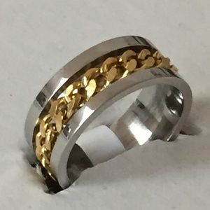 Other - Sz 7 Stainless Steel w/ Gold Tone Chain